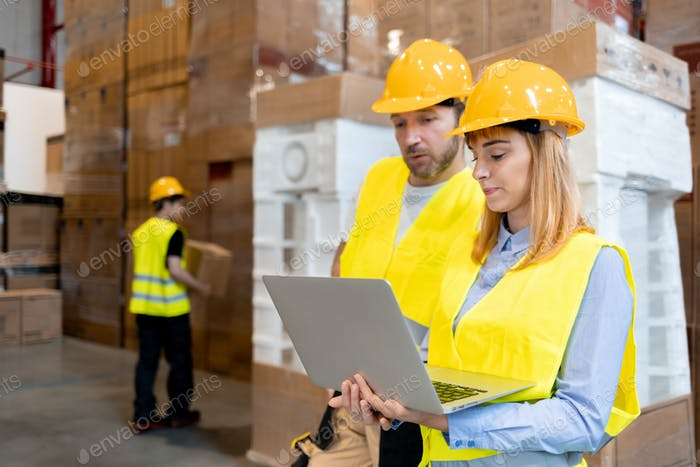 Female warehouse worker consult delivery plans using database in laptop