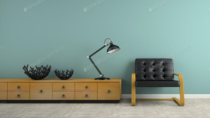 Part of  interior with two black vases and armchair 3D rendering