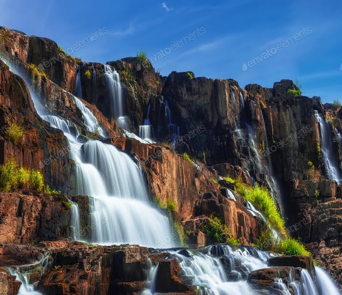 Tropical landscape with Pongour waterfall. Da Lat, Vietnam