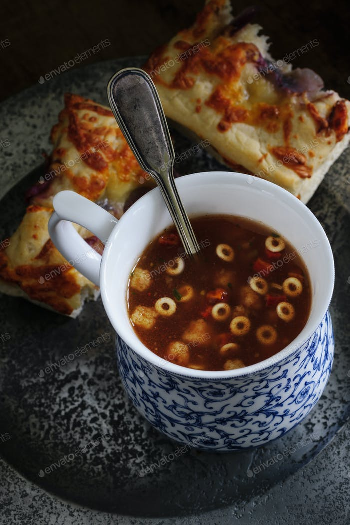 Minestrone Soup with Focaccia Bread