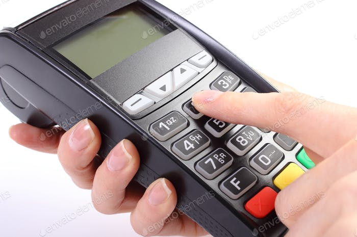 Using payment terminal, enter personal identification number