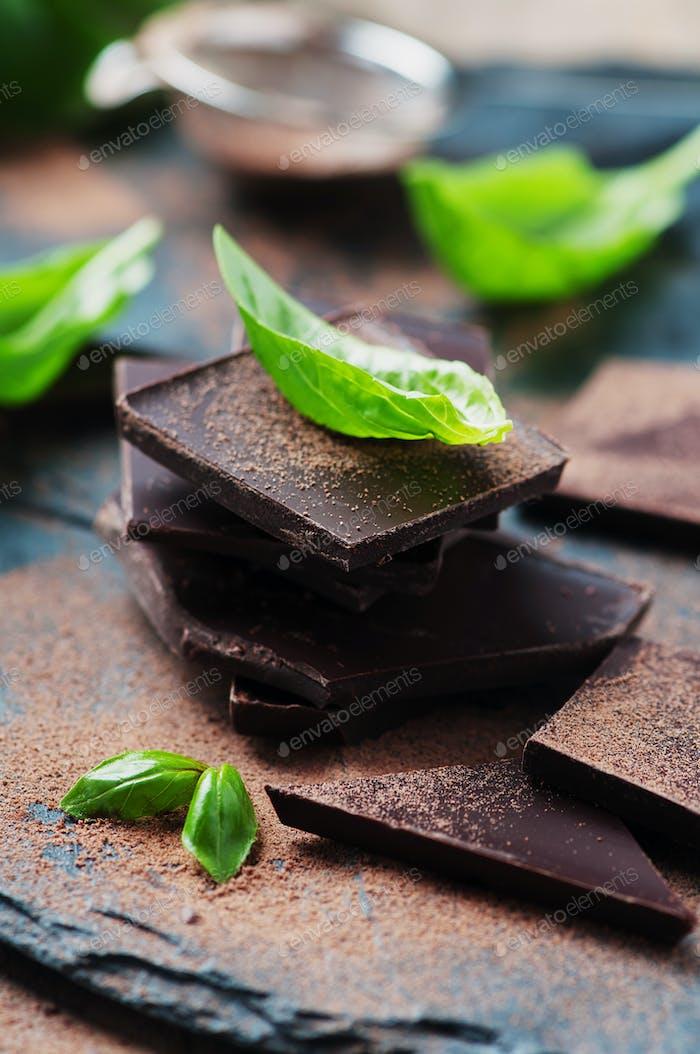 Dark chocolate with basil