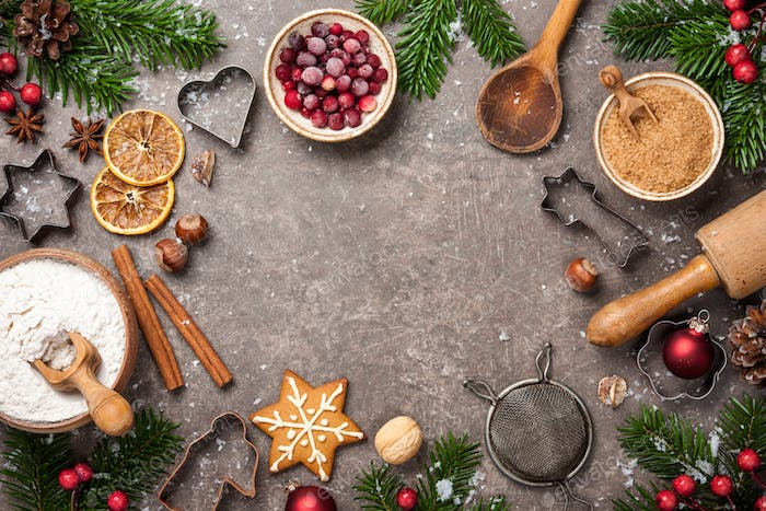 Christmas background. Table for holiday baking cookies with ingredients