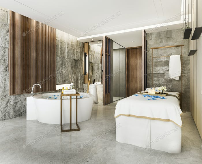spa and massage wellness in hotel suite with bathtub