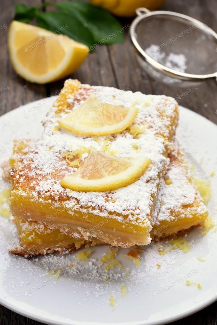 Pieces of lemon pie