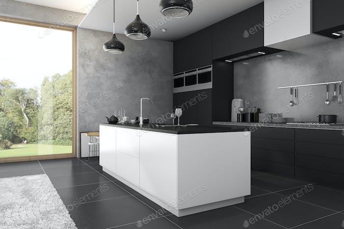 3D Rendering Loft dunkle Küche in der Nähe von Fenster