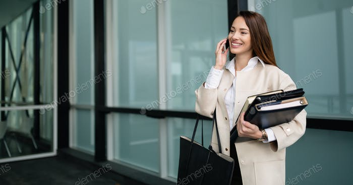 Company CEO busy talking on phone
