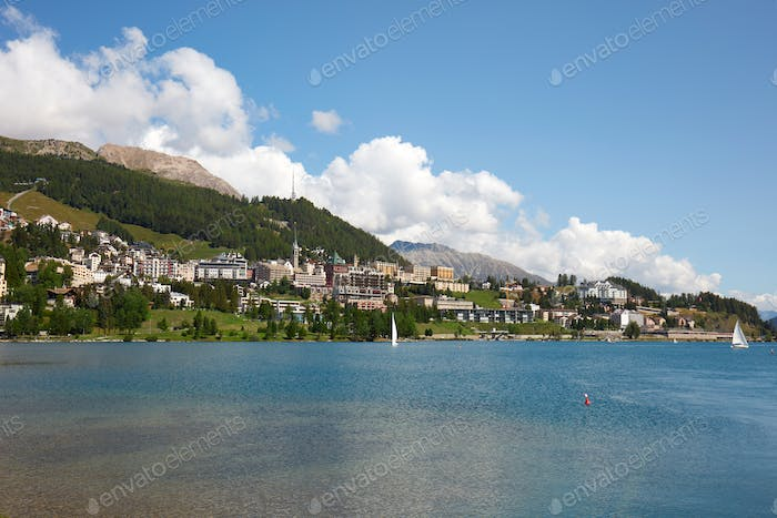 Sankt Moritz town and lake in a sunny day in Switzerland