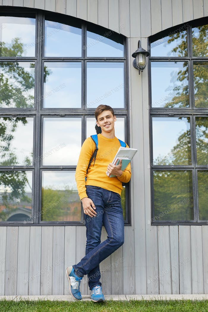 Contemporary Student Posing Outdoors