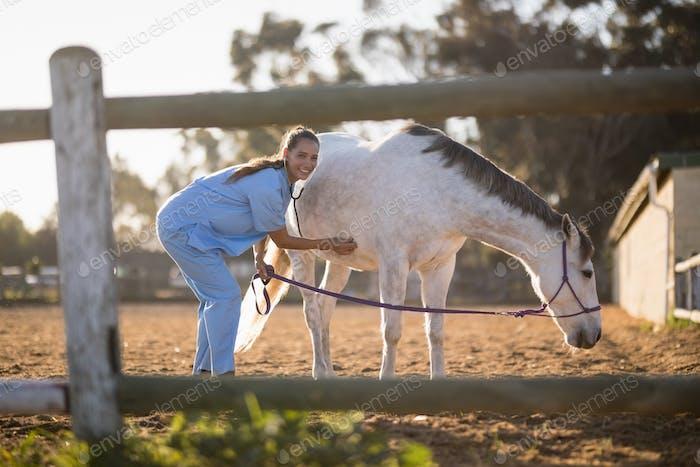 Portrait of female veterinarian examining horse