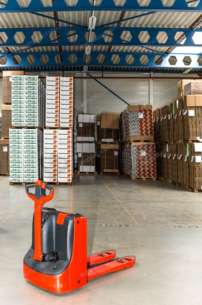 55124,Mechanical dolly with pallets in warehouse