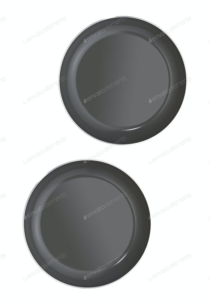 empty pans isolated