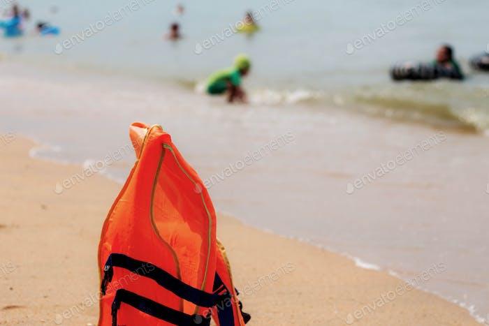 Life jackets on beach