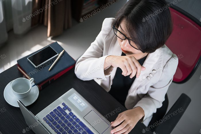 Young woman in smart casual wear working on laptop-14