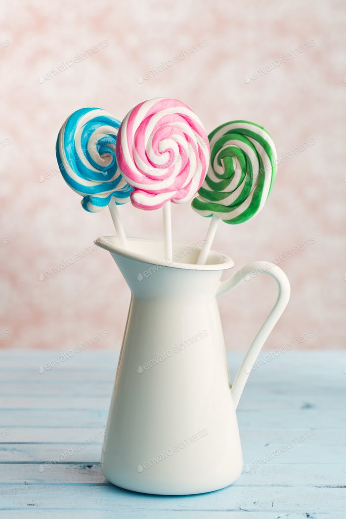 colorful swirl lollipop