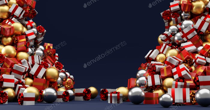 Christmas stack of gifts and presents