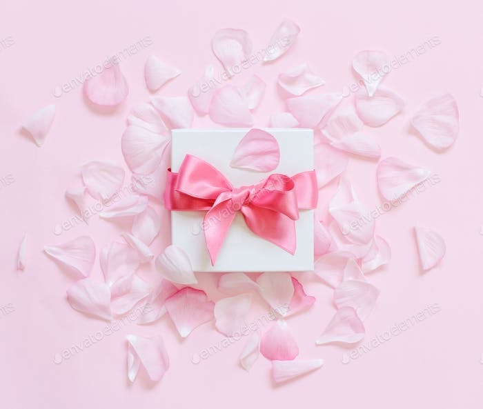 Petals and gift box on a light pink  background