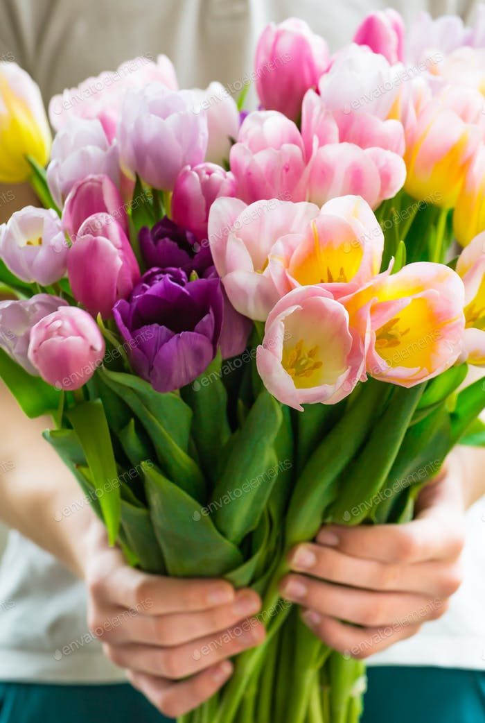 The Boy presents Bunch of Colorful Tulips to his mother