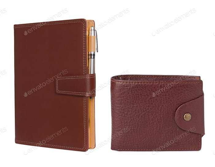 Leather notebook and pencil with wallet