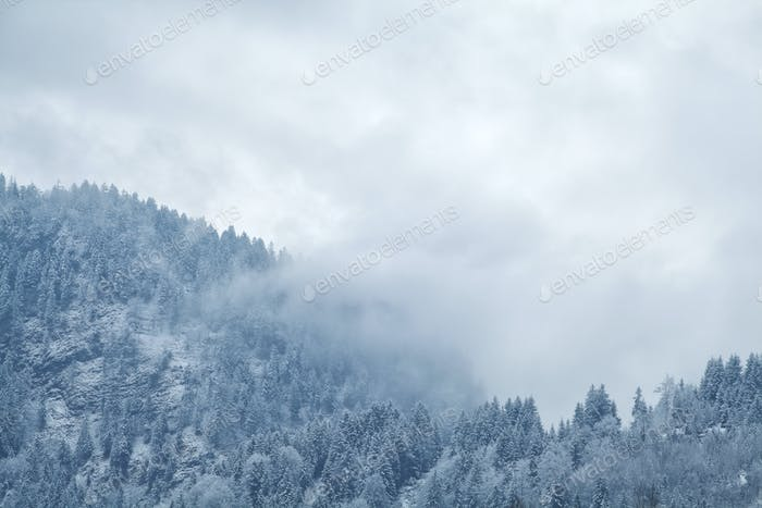 winter fog over mountains