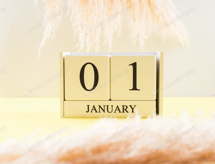 Calendar January, 1 date on yellow background