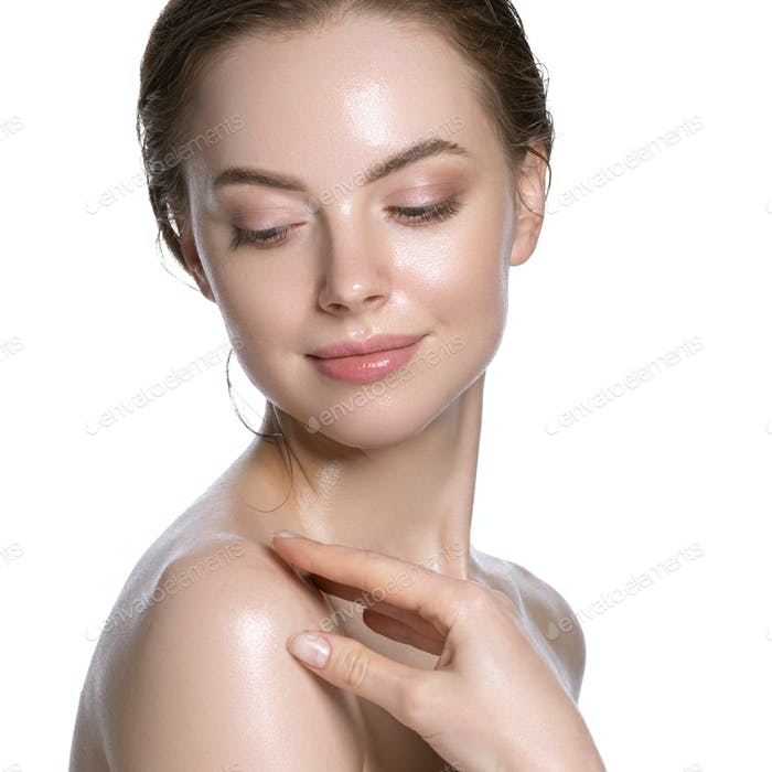Fresh sensual woman healthy hydration clean skin face. Naked neck and shoulders. Isolated on white.