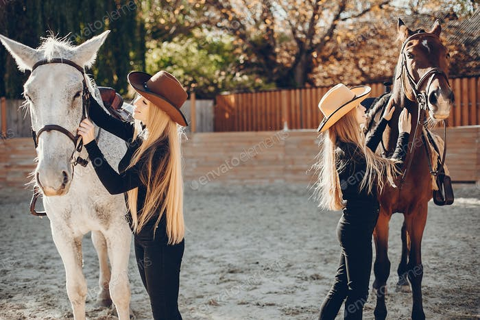 Elegant girls with a horse in a ranch