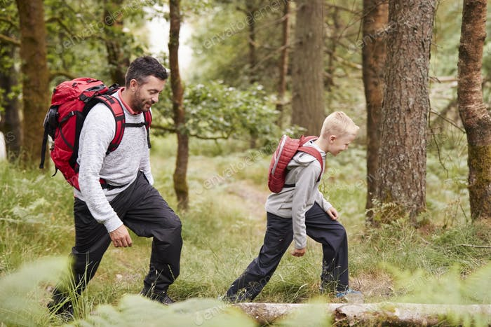 Side view of a boy walking on trail in a forest with his father, selective focus
