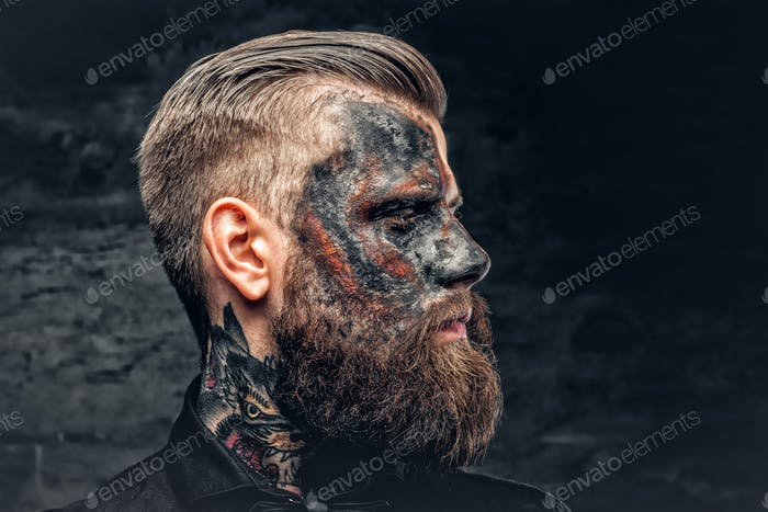 A man with burning make up.