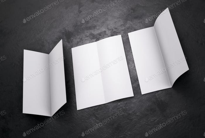 Blank white leaflet Mockup on black, booklet. 3d rendering