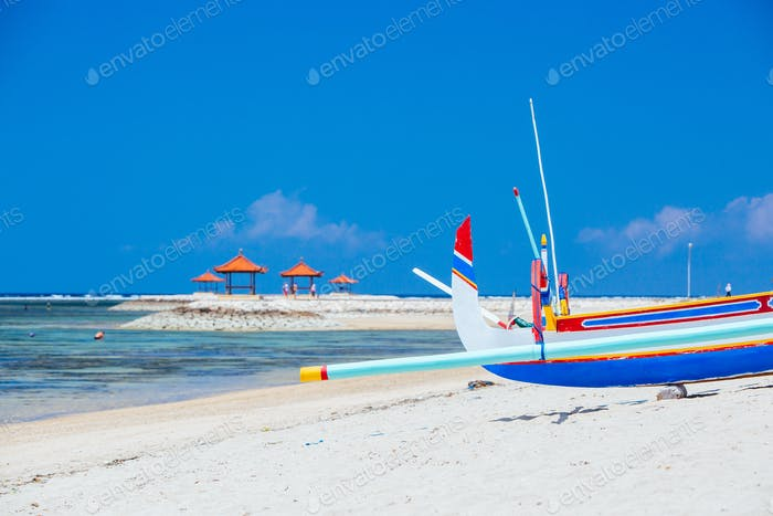 Sanur Beach Scene in Indonesia