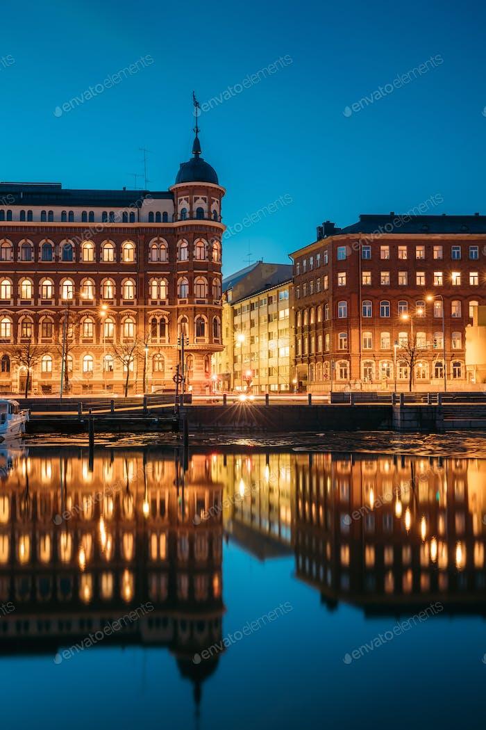 Helsinki, Finland. Crossroad Of Pohjoisranta And Kirkkokatu Stre