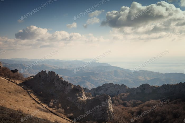 Thumbnail for Crimean mountains under the blue sky with clouds