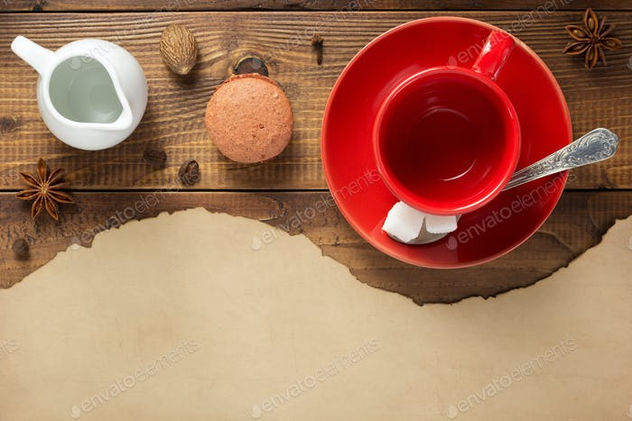 empty cup of coffee and ingredients