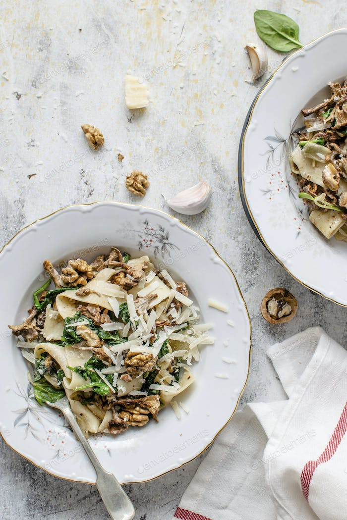 Pappardelle pasta mushroom and spinach dish