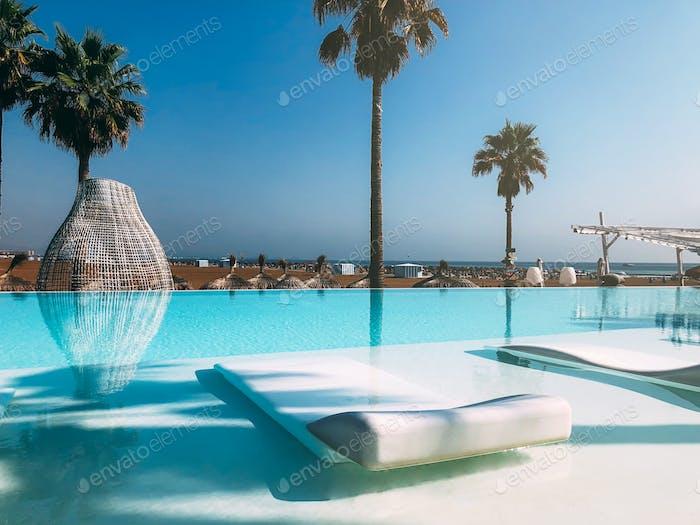 Luxury swimming pool on the beach