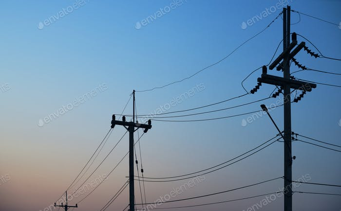 Electric pole with clear blue sky
