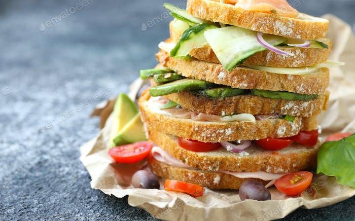 Verschiedene Sandwiches