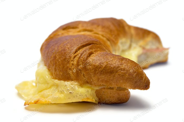 Croissant with Cheese and Ham Isolated on a White Background