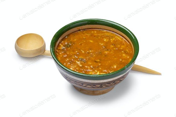 Traditionelle Schüssel marokkanischer harira Nahaufnahme