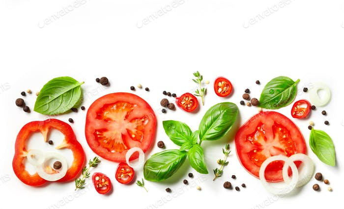 fresh vegetables, herbs and spices