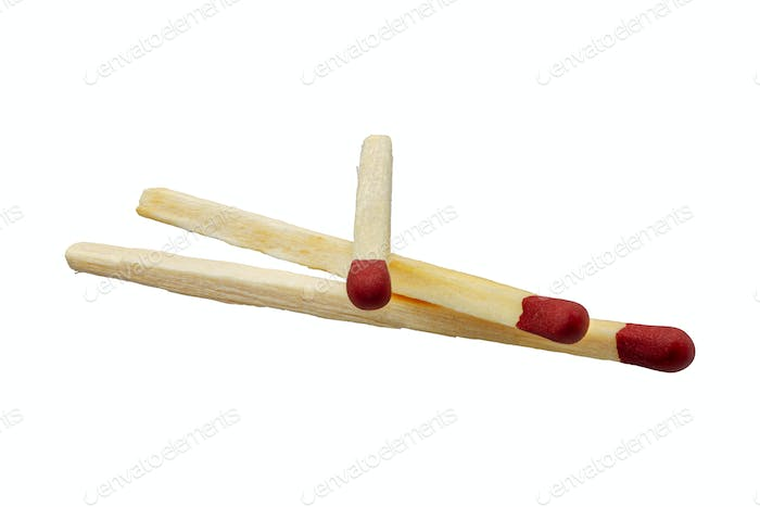 Three matches on a white background