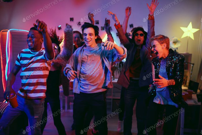 People at disco party