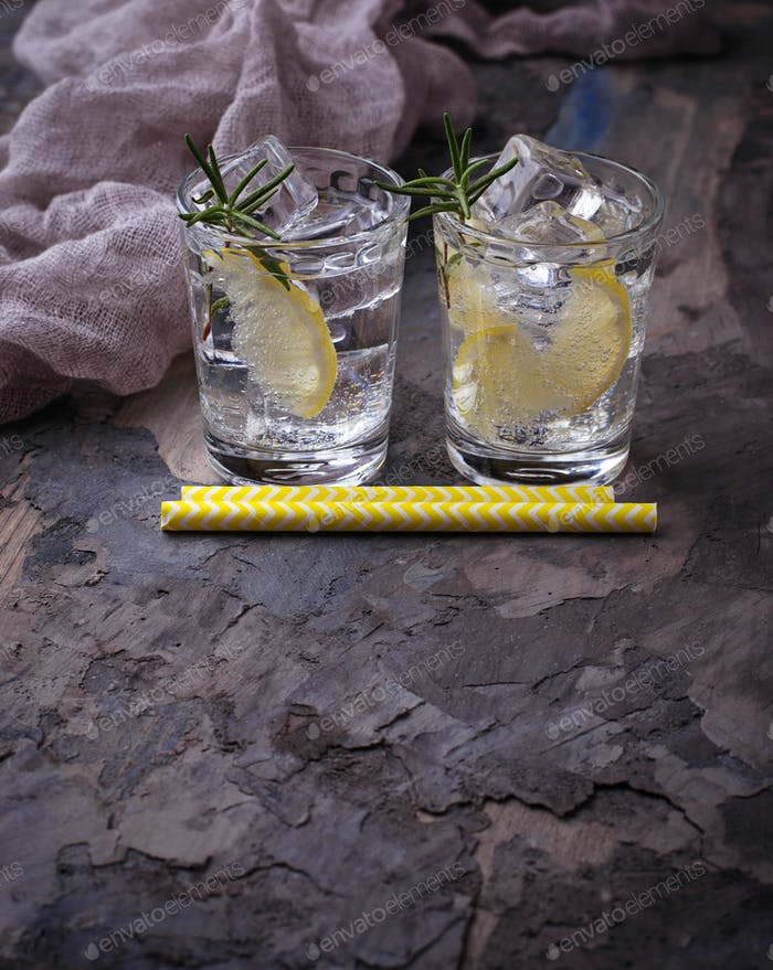 Drink with lemon and rosemary