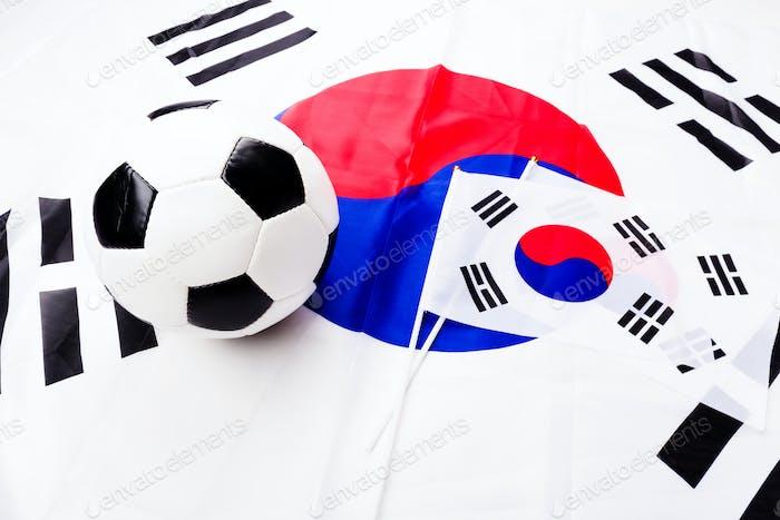 Flag of South Korea and soccer ball