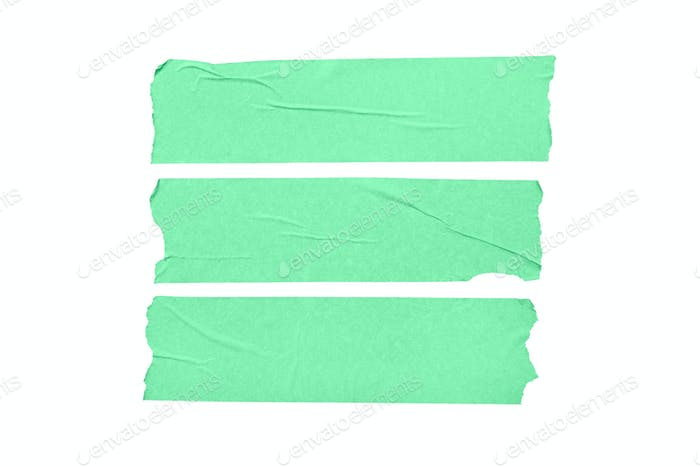 Set of green blank tape stickers isolated on white background