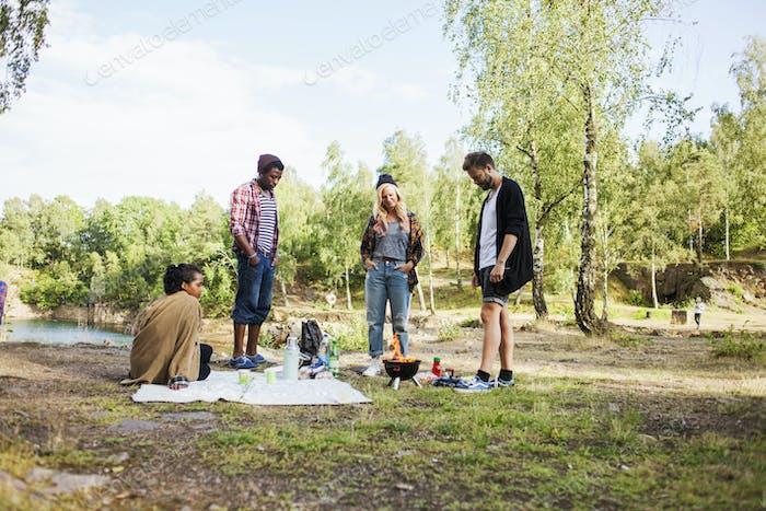 Многоэтнические друзья наслаждаются пикником в лесу