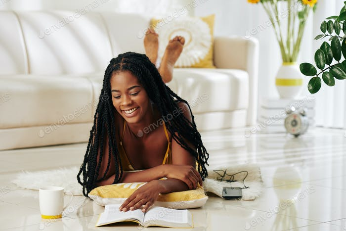 Woman enjoying good book
