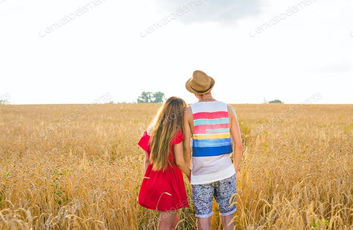 Rear view of young couple in the wheat field. Summer or autumn season, copy space