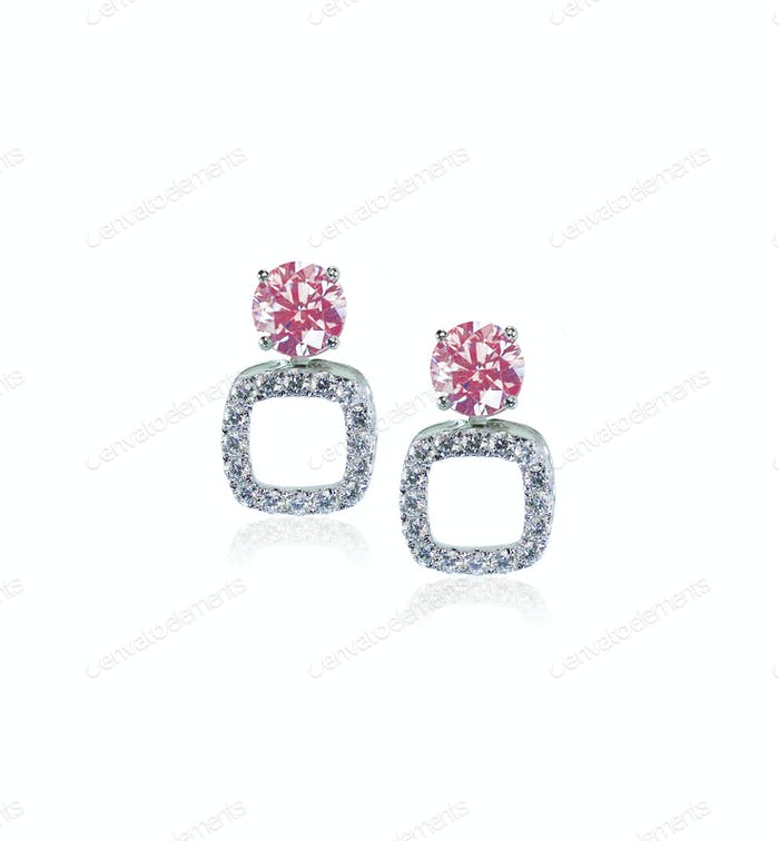 Pink Diamond Stud earrings pair
